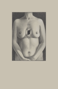 """Inside Out, 22"""" x 30"""", Graphite and white charcoal on toned paper, 2013"""