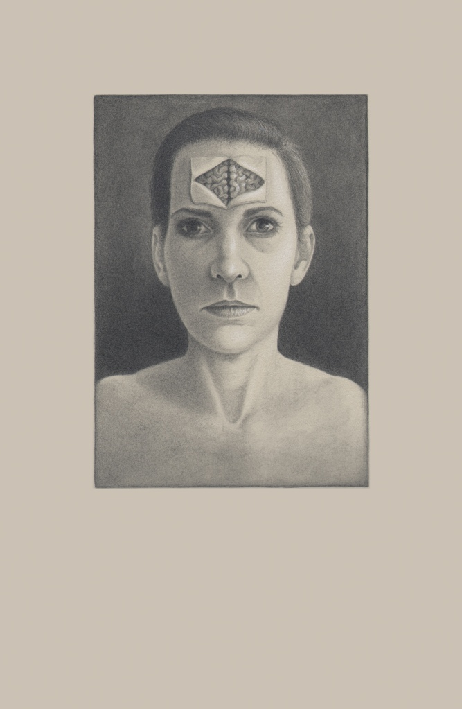 "Mind Blindness, 22""x 30"", Graphite and white charcoal on toned paper, 2013"